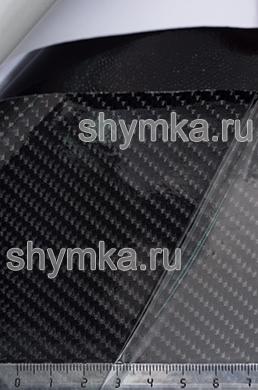 Автовинил с каналами Five Star Карбон 5D Глянец Черный трехслойный ширина 1,5м толщина 150 микрон