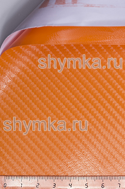 Автовинил с каналами Nippon Карбон 4D ОРАНЖЕВЫЙ ширина 1,5м толщина 180 микрон