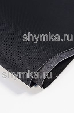 Eco microfiber leather FOR STEERING WHEELS Schweizer Nappa with false perforation 0500 JET BLACK thickness 1.5mm width 1.35m