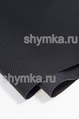Eco microfiber leather Schweizer Nappa with perforation 0500 JET BLACK thickness 1.5mm width 1.35m