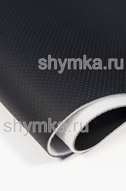 Eco microfiber leather with perforation Standart BLACK on foam 3mm (THREE!!!) with spunbond width 1,4m thickness 4,3mm