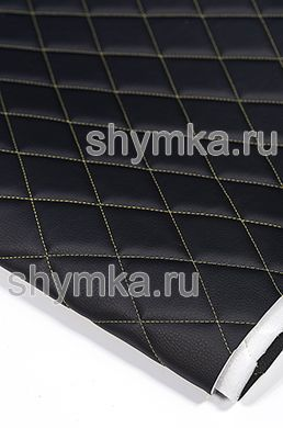 Eco leather Oregon on foam rubber 5mm and spunbond BLACK quilted with YELLOW thread RHOMBUS 45x45mm width 1,4m