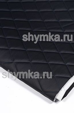 Eco leather Oregon on foam rubber 5mm and spunbond BLACK quilted with SKY BLUE thread RHOMBUS 45x45mm width 1,4m