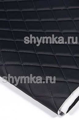 Eco leather Oregon on foam rubber 5mm and spunbond BLACK quilted with PURPLE thread RHOMBUS 45x45mm width 1,4m