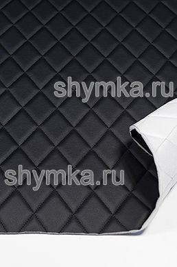 Eco leather Oregon on foam rubber 5mm and spunbond BLACK quilted with BLACK thread RHOMBUS 45x45mm width 1,4m