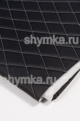 Eco leather Oregon WITH PERFORATION on foam rubber 5mm and spunbond BLACK quilted with WHITE thread RHOMBUS 45x45mm width 1,4m
