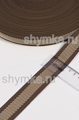 Лента окантовочная Nova ДИАГОНАЛЬ СВЕТЛО-БЕЖЕВАЯ на КОРИЧНЕВОМ ширина 30мм плотность 14г/м