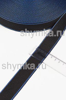 Лента окантовочная Nova ДВУХЦВЕТНАЯ ширина 30мм плотность 14г/м ЧЕРНАЯ с каймой СИНЕЙ