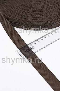 Лента ременная/окантовочная Tefi ширина 22мм плотность 9г/м ЕЛОЧКА ТЕМНО-КОРИЧНЕВАЯ
