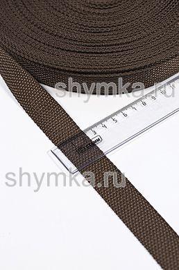 Лента ременная/окантовочная Tefi ширина 25мм ОБЛЕГЧЕННАЯ 10г/м ТЕМНО-КОРИЧНЕВАЯ