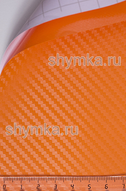 Автовинил с каналами Five Star Карбон 3D ОРАНЖЕВЫЙ ширина 1,5м толщина 180 микрон