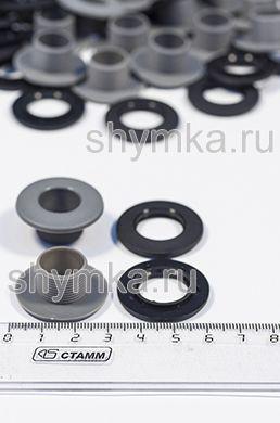 Люверс пластиковый диаметр 14мм ДЛЯ ЭВА СЕРЫЙ с высокой ножкой 11мм (комплект 2 части)