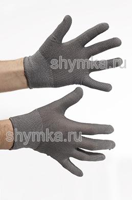 Перчатки синтетические тонкие серые с напылением пвх слоя